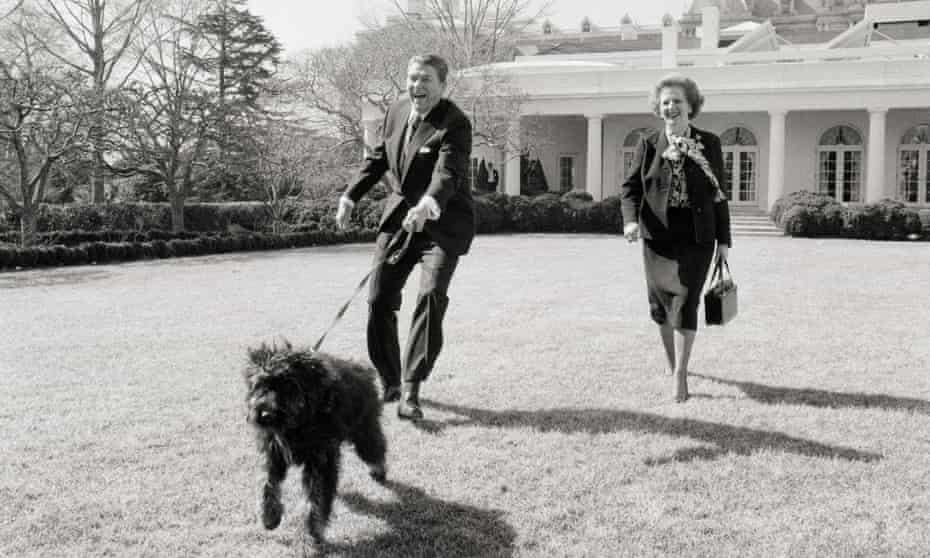 Ronald Reagan walking his dog, Lucky, with Margaret Thatcher. 'Although Thatcher liked Reagan and shared some of his convictions, she had no illusions about him.'