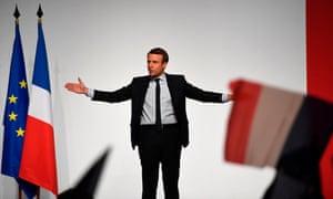 Emmanuel Macron speaking in Chatellerault, western France