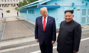 Trump meets with North Korean leader Kim Jong-un at the demilitarised zone on Sunday.