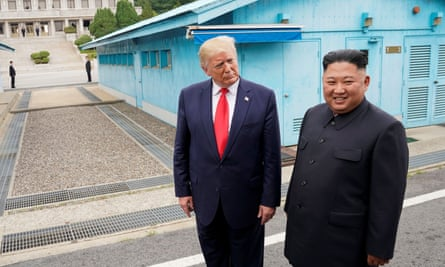 Donald Trump and Kim Jong-un meet at the border of North and South Korea on 30 June 2019.