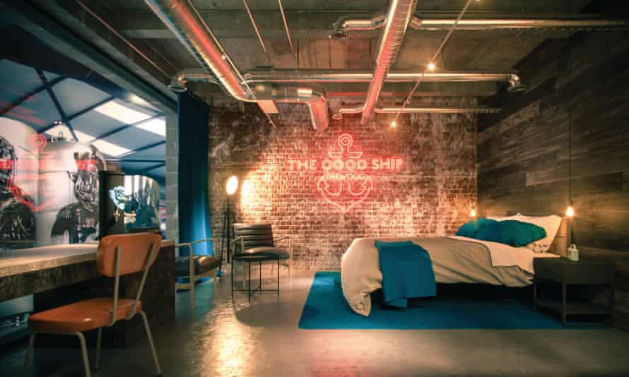 Artists impression of a bedroom at the new hotel for BrewDog, Scotland.