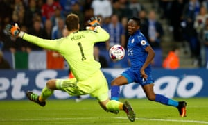 Ahmed Musa has a shot saved by Chelsea's Asmir Begovic during Leicester City's EFL Cup third round defeat last week.