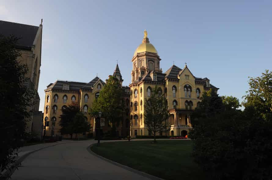 The main Building on the campus of Notre Dame University in South Bend, Indiana.
