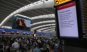 A display at Heathrow warns passengers to expect delays.