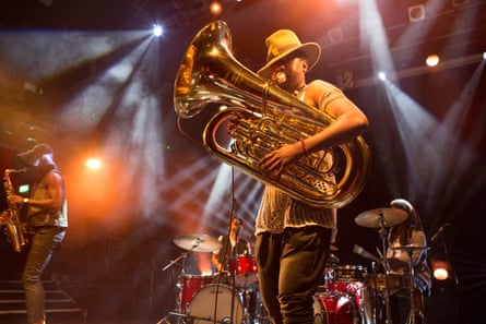 Sons of Kemet's tuba player Theon Cross: 'exudes Jaws soundtrack menace or busy dexterity'.