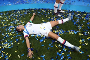 Alex Morgan celebrates after winning her second World Cup in France last year.