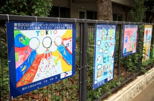Paintings from local children along a fence outside the Olympic Stadium
