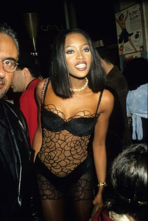 Naomi Campbell opts for a see-through dress at a fashion party in Paris, 1990.