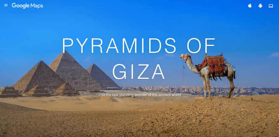 An online virtual tour of the Pyramids of Giza, Egypt
