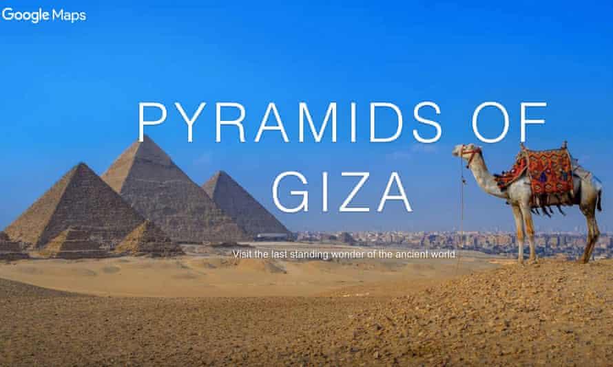 An online virtual tour of the Pyramids of Giza, Egypt.