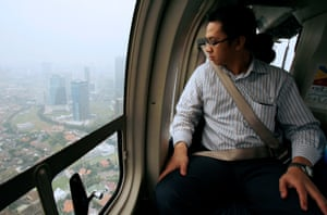 An Indonesian executive flies over Jakarta in a 'helimousine'.