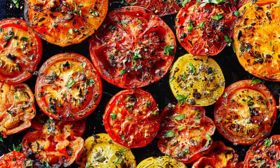 Tomato provencales. Recipe from A Book of Mediterranean Food by Elizabeth David. The Observer's 20 best tomato recipes supplement. Food Stylist: Kim Morphew Prop stylist: Tamzin Ferdinando