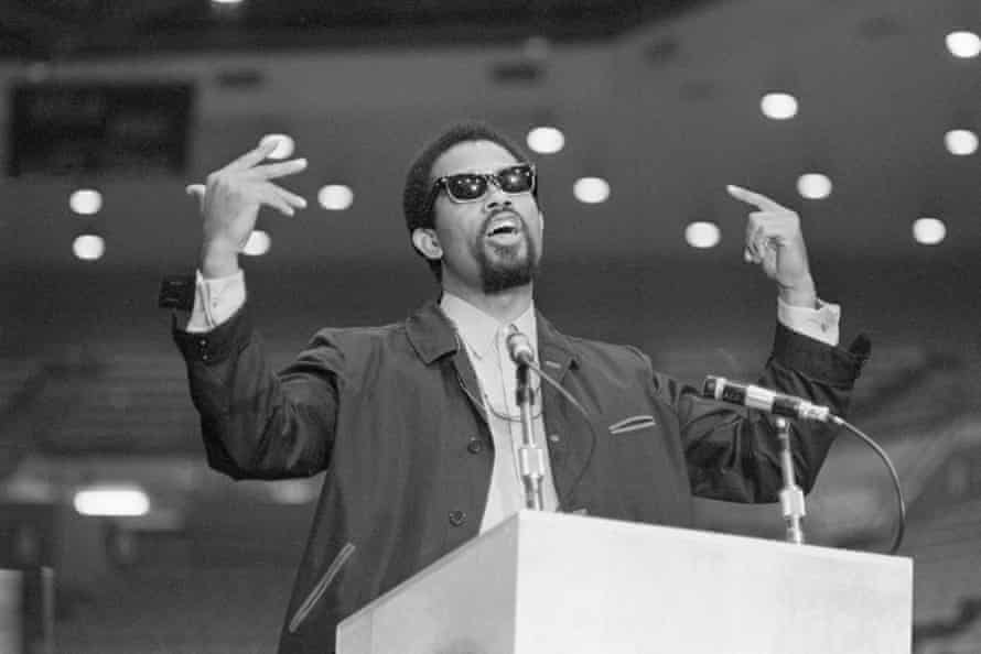 The Black Panther minister of information, Eldridge Cleaver, addresses an estimated 7,500 students at UCLA in 1968.