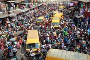 Crowded Balogun market in capital of Nigeria Lagos