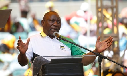South African president Cyril Ramaphosa launches the African National Congress's manifesto in Durban, on Saturday.