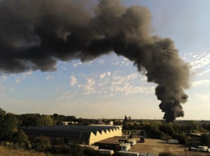 Kent, UK A plume of smoke fills the sky from an industrial chemical fire in the town of Ashford.
