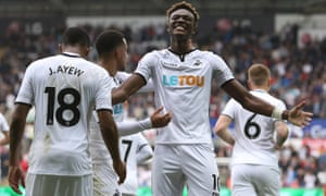 Tammy Abraham celebrates scoring his and Swansea's first goal against Huddersfield Town.