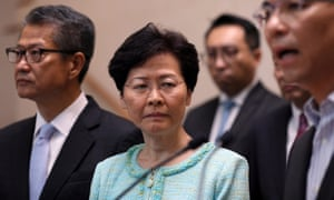 Hong Kong's chief executive, Carrie Lam, at a press conference on Friday