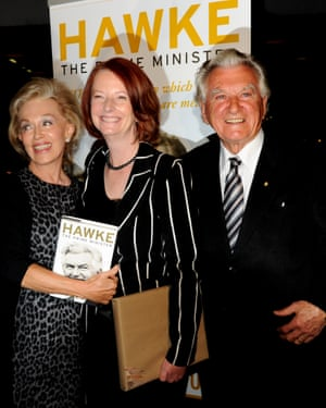 Hawke with his second wife, Blanche d'Alpuget, and Julia Gillard in 2010