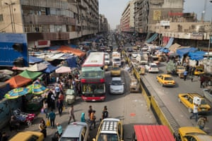 One of downtown Baghdad's interminable and inevitable traffic jams.