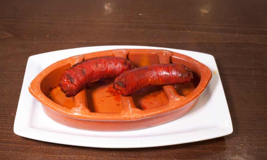 'Thick taut-skinned lengths arrive in custom-designed terracotta dishes': chorizo.
