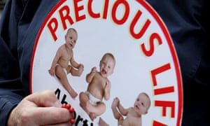 An anti-abortion protester in Northern Ireland in 2012