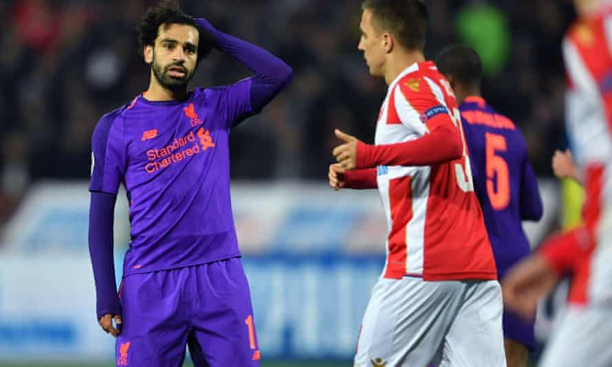 Mohamed Salah was one of several Liverpool players to miss chances