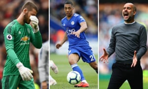 David de Gea of Manchester United; Youri Tielemans of Leicester City; Pep Guardiola of Manchester City.