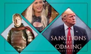 Ed Sheeran in Game of Thrones; Kristen Wiig as Daenerys on Jimmy Fallon; Donald Trump tweet.