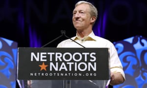 Tom Steyer speaks at the Netroots annual conference in New Orleans, Louisiana, on 2 August.