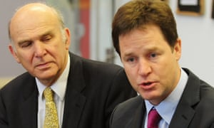 Cable in 2010 with then party leader Nick Clegg.