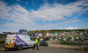 BT Openreach van in a fishing village