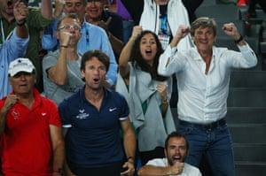 Xisca Perello, girlfriend of Rafael Nadal, second right, and the rest of Team Rafa celebrate.