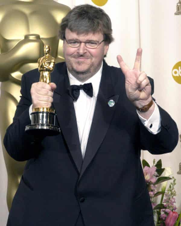 Winning the 2003 Oscar for best documentary for Bowling for Columbine.