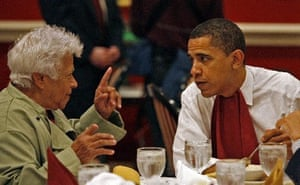 Leah Chase eats with Barack Obama.