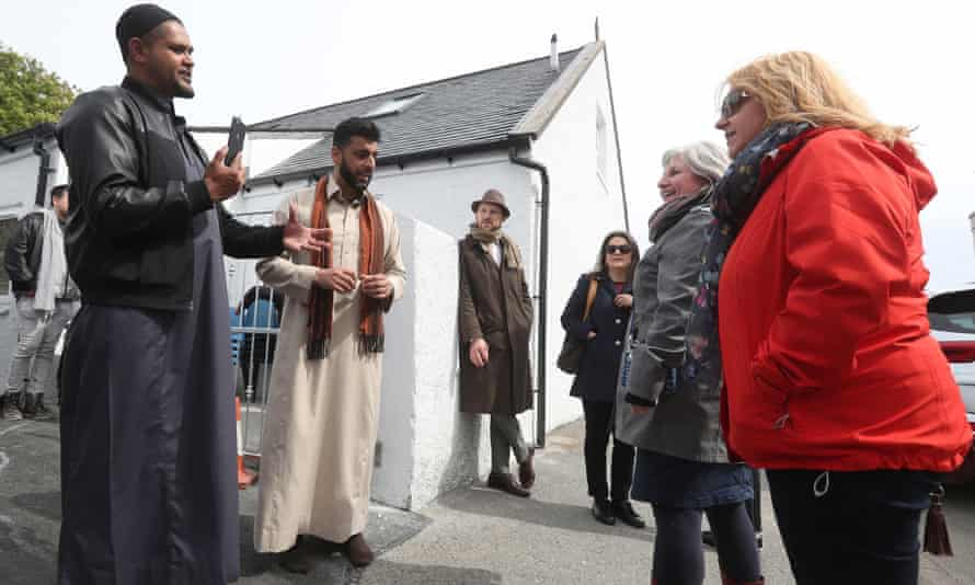 Aihtsham Rashid (second left) speaks to local people during the official opening of the mosque in Stornoway on the Isle of Lewis.