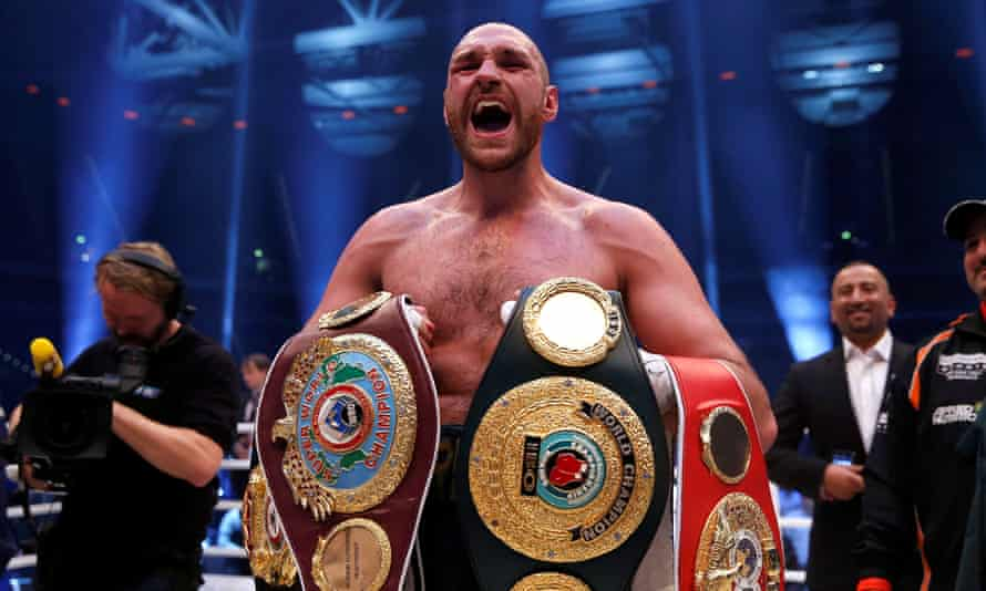Tyson Fury, whose boxing licence has been suspended, holds the WBA, IBF and WBO belts after defeating Wladimir Klitschko last November.