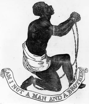 1774: A slave in chains expressing the inhumanity of slavery with the words 'Am I not a man and a brother?'.