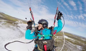 Sacha Dench in training over Sweden. The British conservationist will follow the route of thousands of Bewick's swans on their annual migration.
