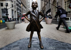 The Fearless Girl by artist Kristen Visbal.