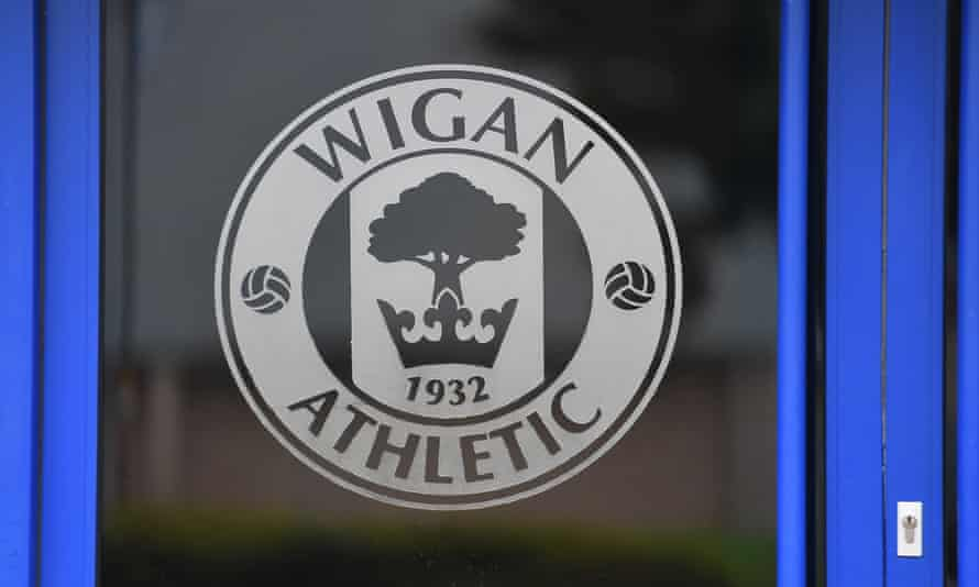 A Wigan Athletic badge at their DW Stadium