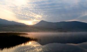 Sunrise over Llyn Y Gader, Snowdonia.
