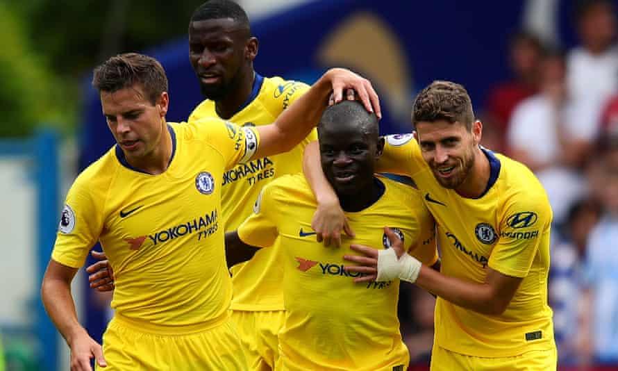 Chelsea's N'Golo Kanté celebrates scoring his opening goal against Huddersfield.