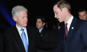 Former US president Bill Clinton and Prince William in Zurich in December 2010 for the announcement of the World Cup bid winners.
