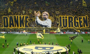 Borussia Dortmund fans showed their appreciation to Jürgen Klopp before he left in 2015 after seven years. If he sees out his Liverpool contract he will have spent seven years there too.