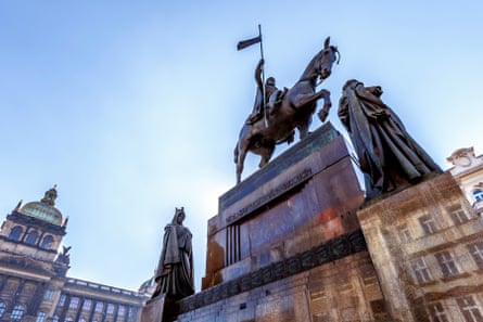 The iconic statue of Saint Wenceslas on Vaclavske Namesti in Prague. A less traditional version of the statue has since been sculpted by David Černý.