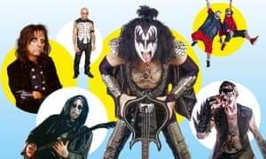 Clockwise from top left: Alice Cooper; Misfits; Kiss; Insane Clown Posse; Attila; Mayhem.