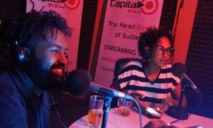 Eltayeb Hajo, left, at Capital FM radio station in Khartoum.
