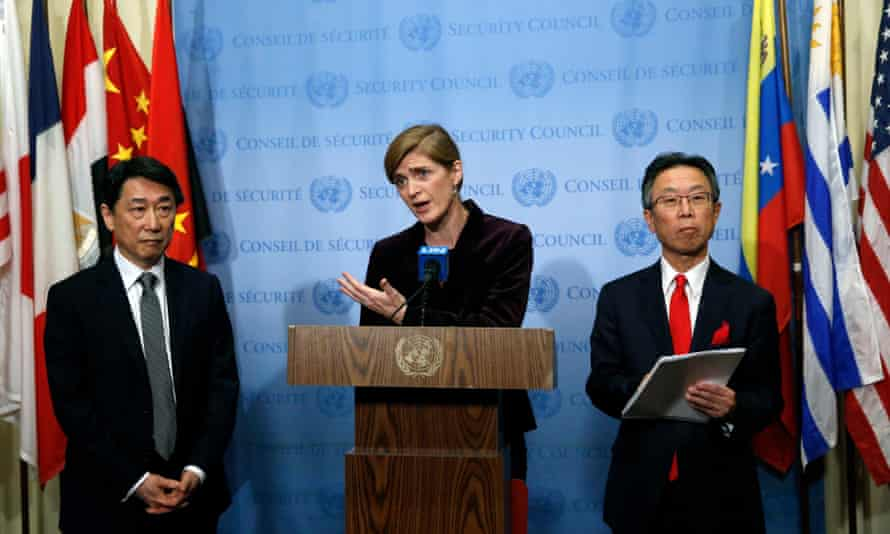 Samantha Power (centre), with the South Korean ambassador to the UN (left) after a unanimous vote to impose sanctions on North Korea.