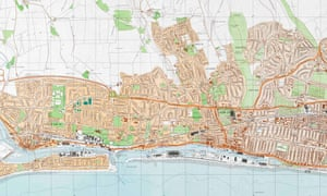 Section of the Soviet map of Brighton, 1990